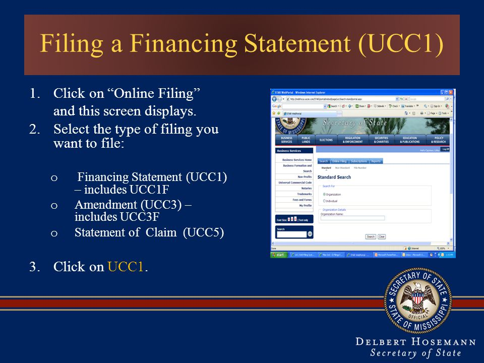 Filing a Financing Statement (UCC1) 1.Click on Online Filing and this screen displays.