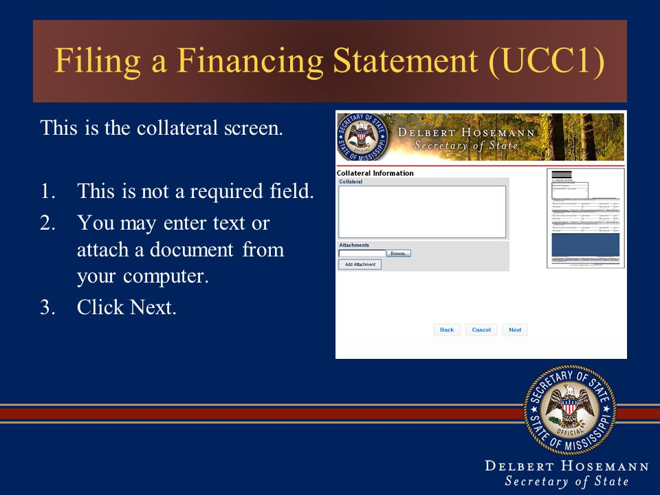 Filing a Financing Statement (UCC1) This is the collateral screen.