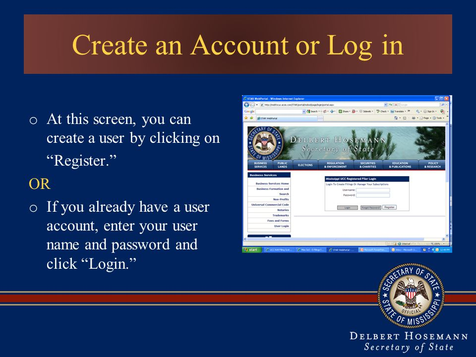 Create an Account or Log in o At this screen, you can create a user by clicking on Register. OR o If you already have a user account, enter your user name and password and click Login.