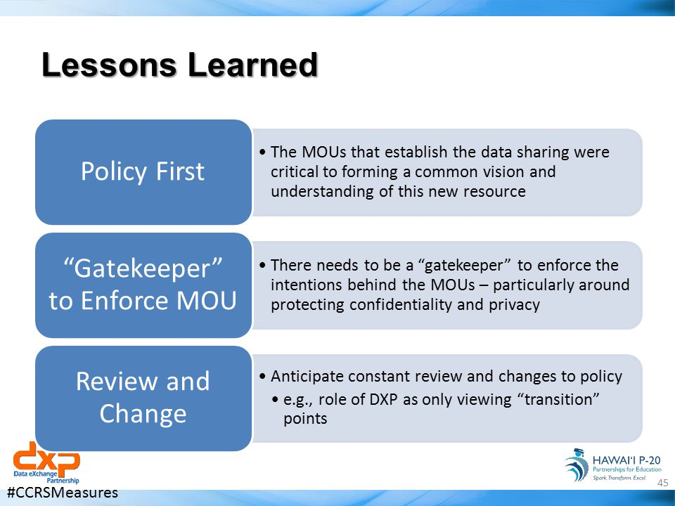 Lessons Learned The MOUs that establish the data sharing were critical to forming a common vision and understanding of this new resource Policy First