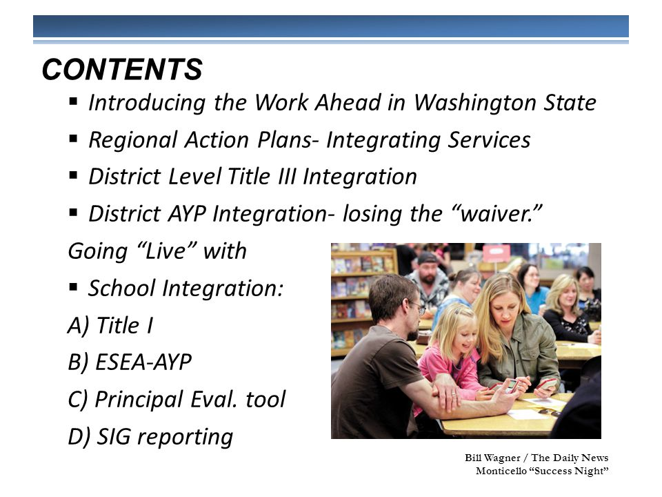 CONTINUED REDUCTION IN DUPLICATION OF EFFORT IN SCHOOL IMPROVEMENT PLANS Title I Schoolwide Title I Targeted Assistance ESEA-AYP Title III AWSP/Marzano Leadership Framework