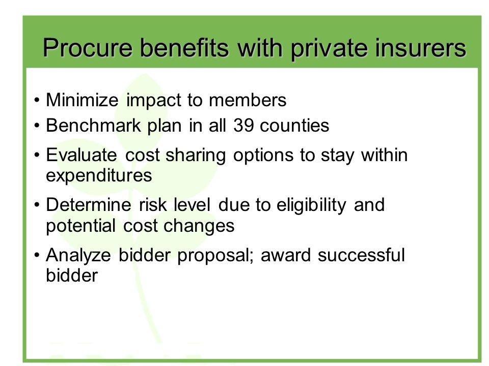 Procure benefits with private insurers Minimize impact to members Benchmark plan in all 39 counties Evaluate cost sharing options to stay within expenditures Determine risk level due to eligibility and potential cost changes Analyze bidder proposal; award successful bidder