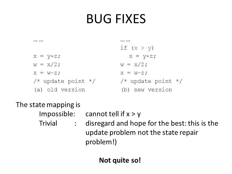 BUG FIXES... x = y+z; w = x/2; x = w-z; /* update point */ (a) old version... if (x > y) x = y+z; w = x/2; x = w-z; /* update point */ (b) new version