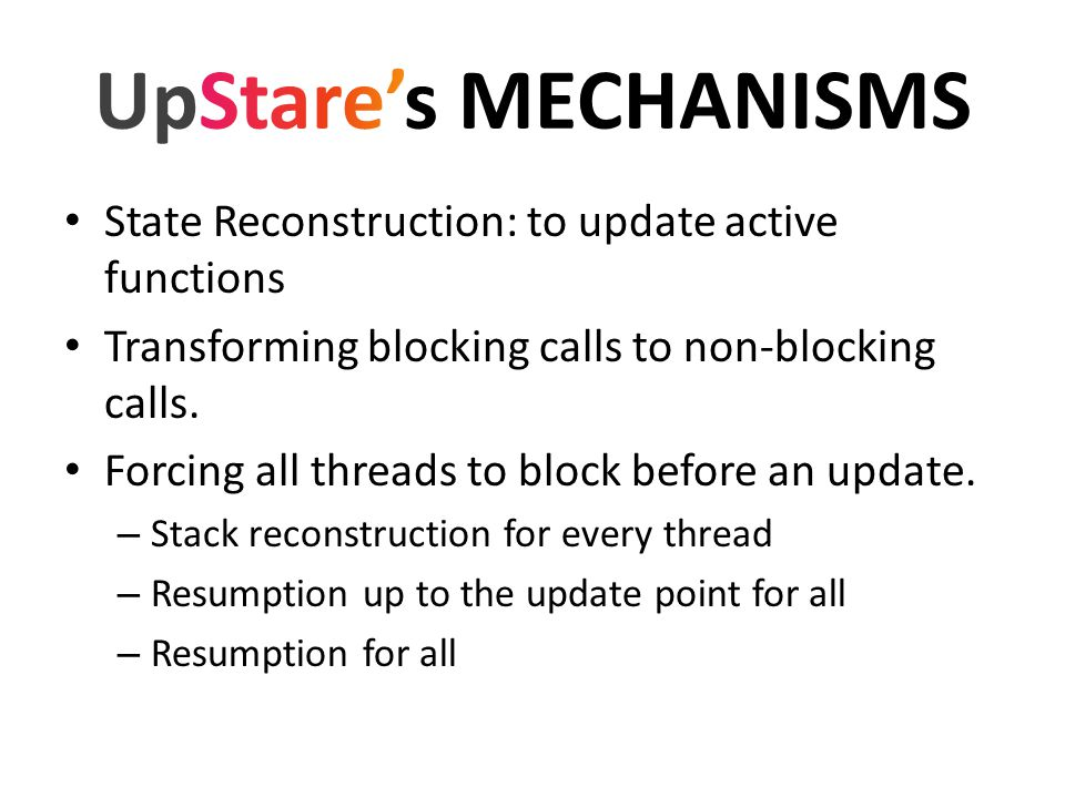 State Reconstruction: to update active functions Transforming blocking calls to non-blocking calls. Forcing all threads to block before an update. – S