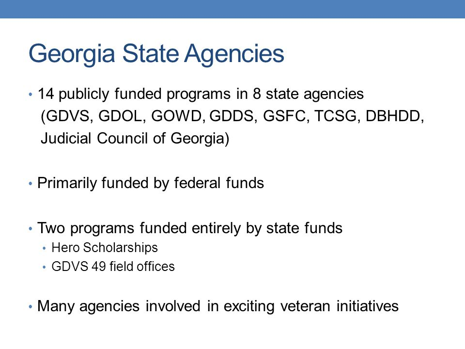 Georgia State Agencies 14 publicly funded programs in 8 state agencies (GDVS, GDOL, GOWD, GDDS, GSFC, TCSG, DBHDD, Judicial Council of Georgia) Primarily funded by federal funds Two programs funded entirely by state funds Hero Scholarships GDVS 49 field offices Many agencies involved in exciting veteran initiatives