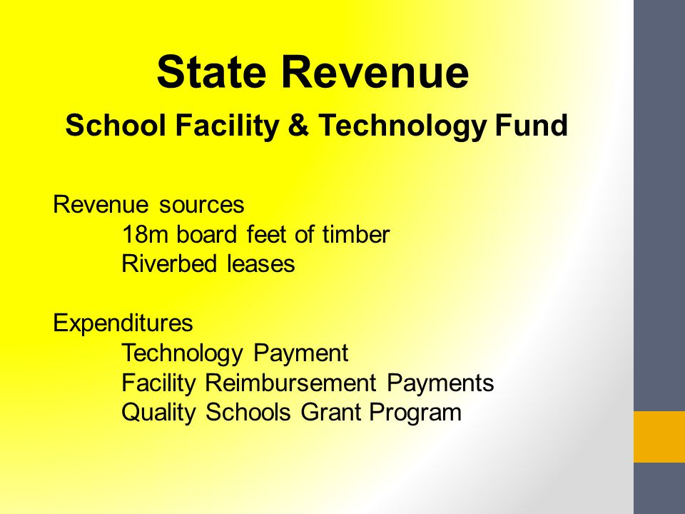School Facility & Technology Fund Revenue sources 18m board feet of timber Riverbed leases Expenditures Technology Payment Facility Reimbursement Payments Quality Schools Grant Program State Revenue