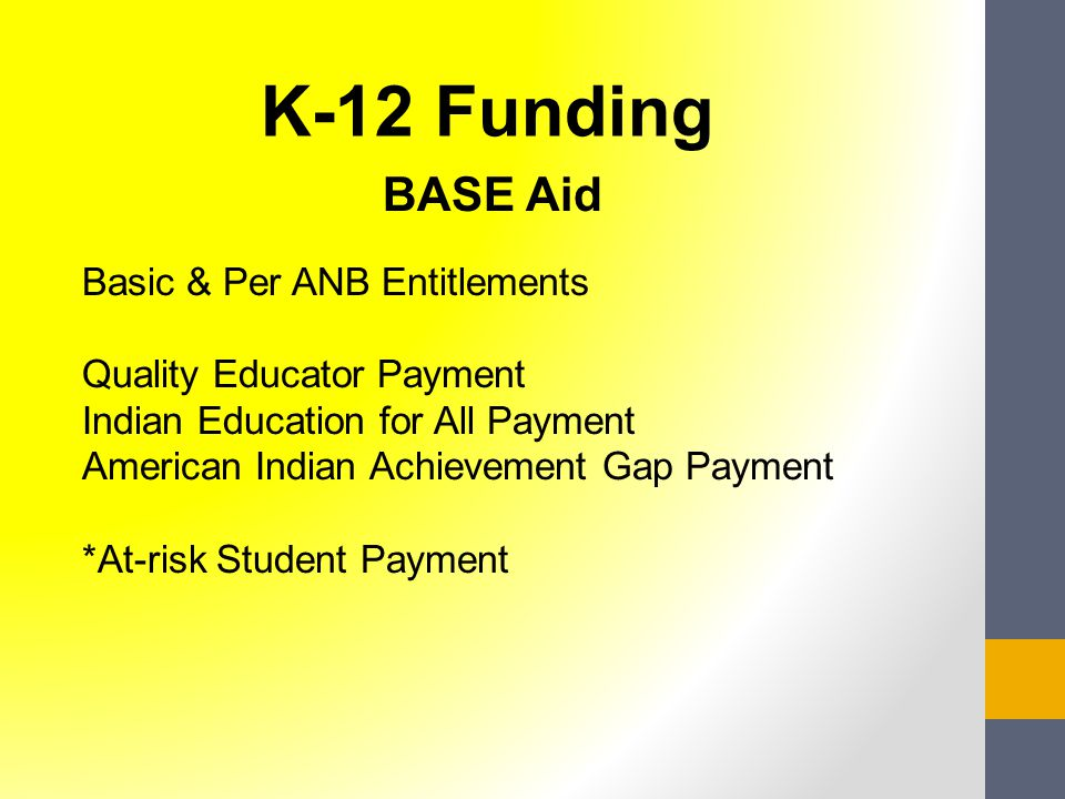 BASE Aid Basic & Per ANB Entitlements Quality Educator Payment Indian Education for All Payment American Indian Achievement Gap Payment *At-risk Student Payment K-12 Funding