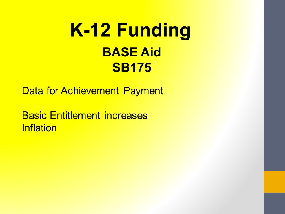 BASE Aid SB175 Data for Achievement Payment Basic Entitlement increases Inflation K-12 Funding