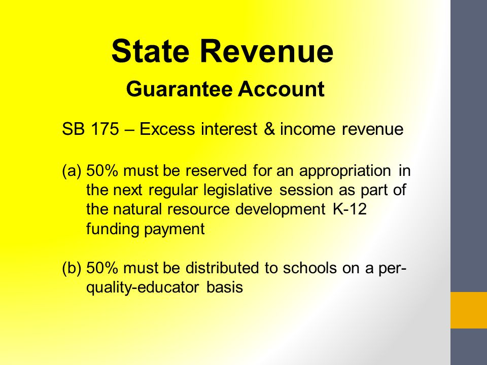 Guarantee Account SB 175 – Excess interest & income revenue (a)50% must be reserved for an appropriation in the next regular legislative session as pa