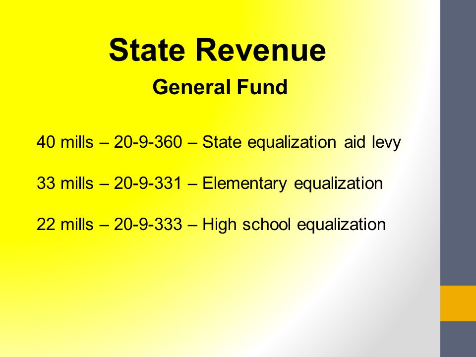 General Fund 40 mills – 20-9-360 – State equalization aid levy 33 mills – 20-9-331 – Elementary equalization 22 mills – 20-9-333 – High school equalization State Revenue