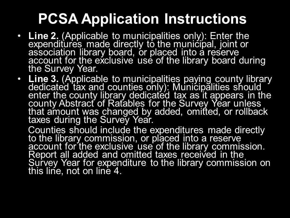 PCSA Application Instructions Line 2.
