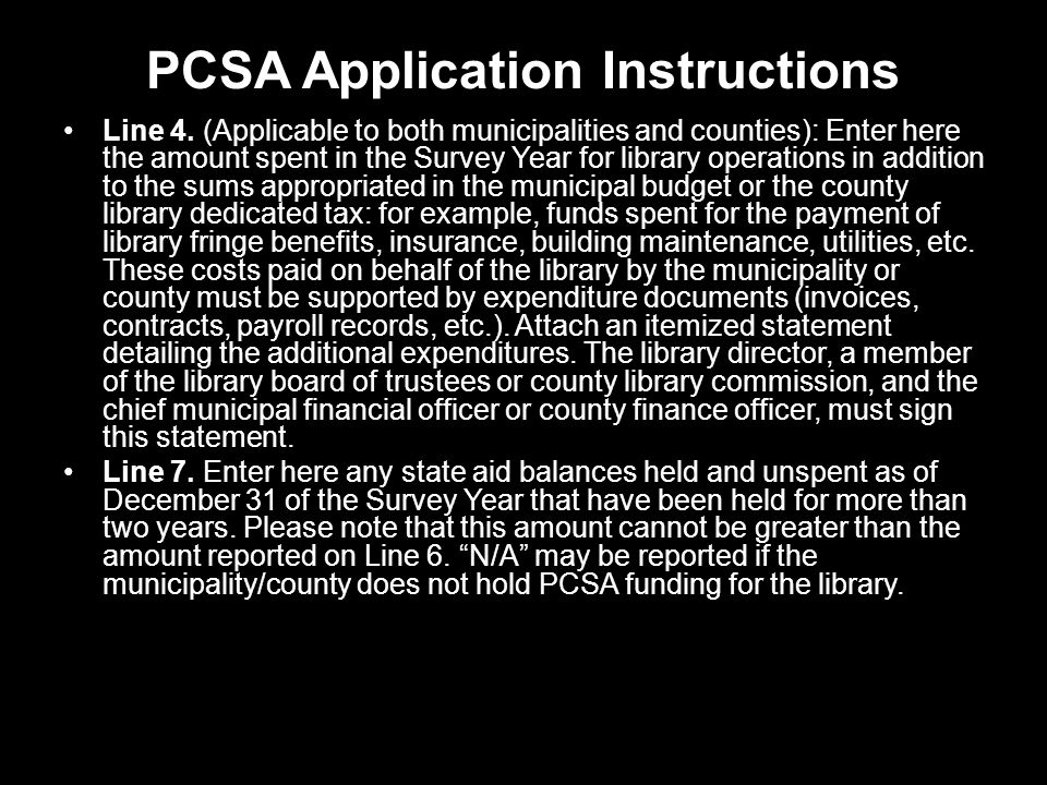 PCSA Application Instructions Line 4.