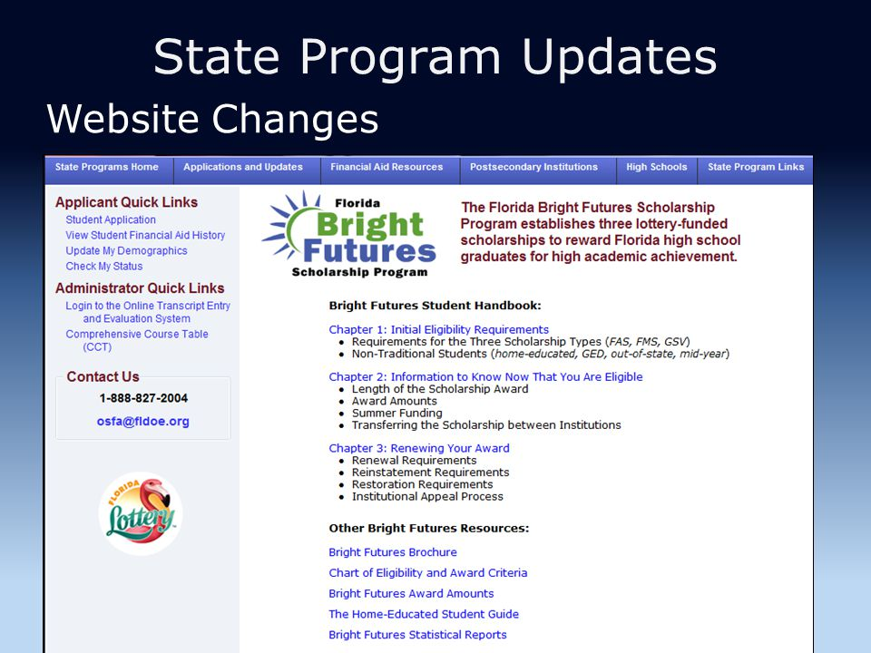 State Program Updates Website Changes