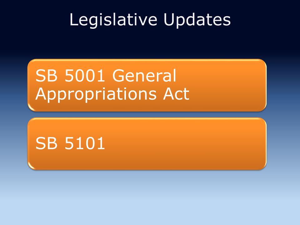 Legislative Updates SB 5001 General Appropriations Act SB 5101
