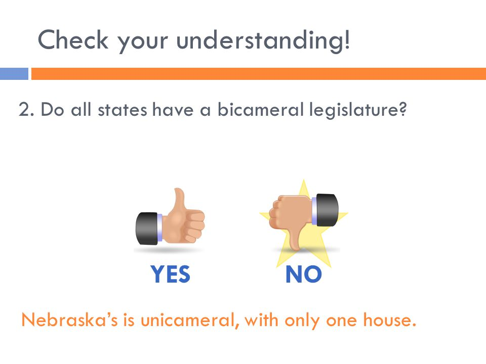 Check your understanding. 2. Do all states have a bicameral legislature.