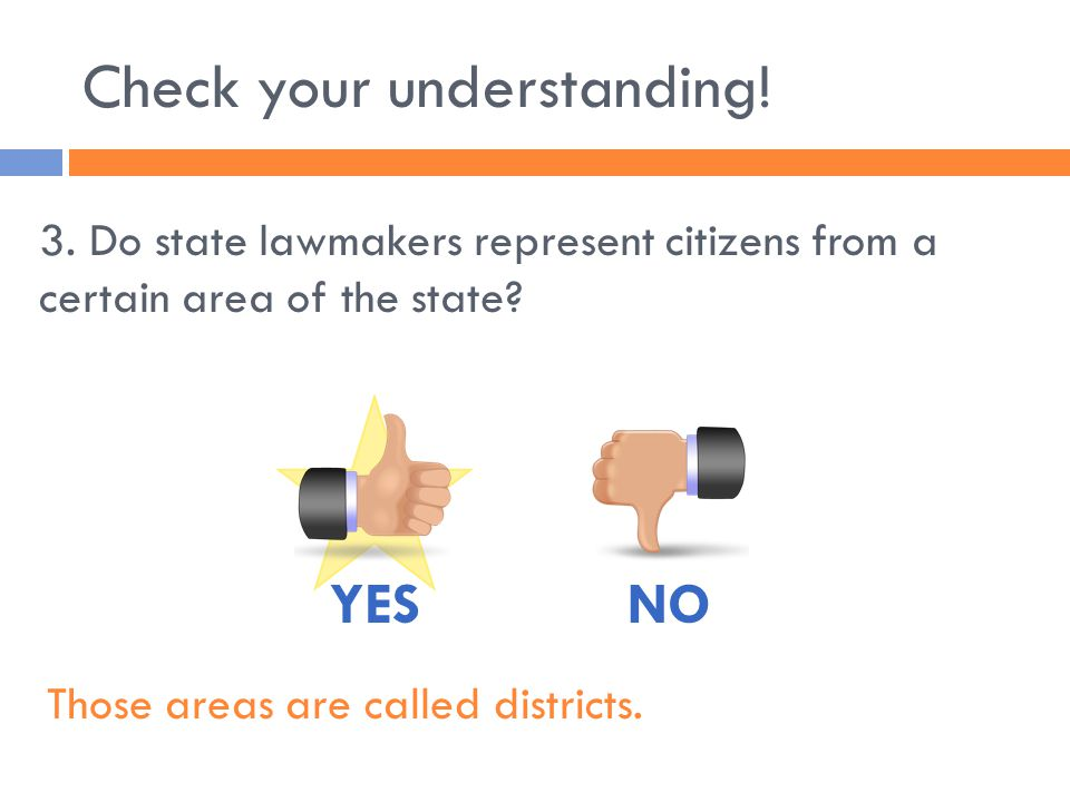 Check your understanding! 4. Can a state governor veto bills passed by the state legislature? YESNO