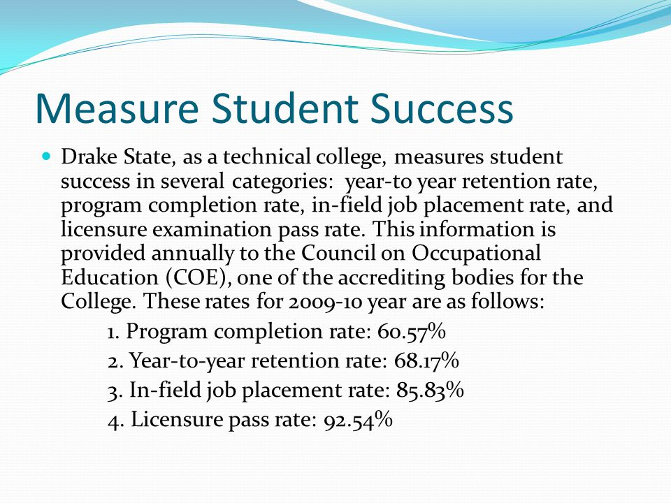 Measure Student Success Drake State, as a technical college, measures student success in several categories: year‐to year retention rate, program completion rate, in‐field job placement rate, and licensure examination pass rate.