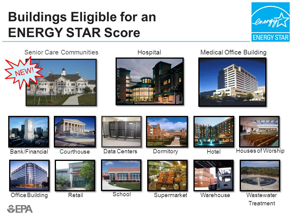 Medical Office Building Office Building Hospital Warehouse Dormitory Supermarket Courthouse School Bank/FinancialHotel Wastewater Treatment Retail Buildings Eligible for an ENERGY STAR Score Senior Care Communities NEW.