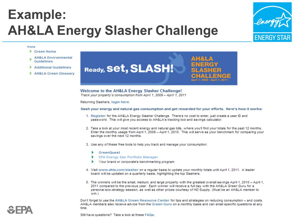 Example: AH&LA Energy Slasher Challenge