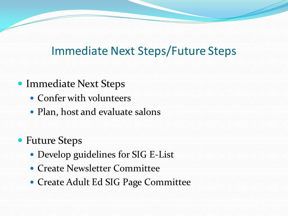 Immediate Next Steps/Future Steps Immediate Next Steps Confer with volunteers Plan, host and evaluate salons Future Steps Develop guidelines for SIG E-List Create Newsletter Committee Create Adult Ed SIG Page Committee