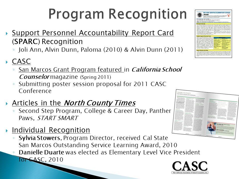  Support Personnel Accountability Report Card (SPARC) Recognition ◦ Joli Ann, Alvin Dunn, Paloma (2010) & Alvin Dunn (2011)  CASC ◦ San Marcos Grant