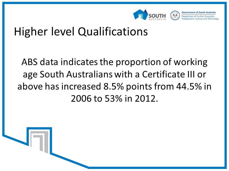 Higher level Qualifications ABS data indicates the proportion of working age South Australians with a Certificate III or above has increased 8.5% points from 44.5% in 2006 to 53% in 2012.