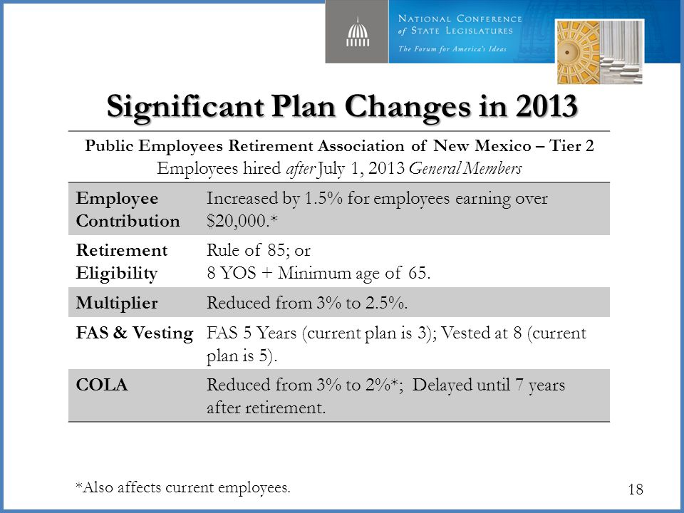 18 Significant Plan Changes in 2013 Public Employees Retirement Association of New Mexico – Tier 2 Employees hired after July 1, 2013 General Members Employee Contribution Increased by 1.5% for employees earning over $20,000.* Retirement Eligibility Rule of 85; or 8 YOS + Minimum age of 65.