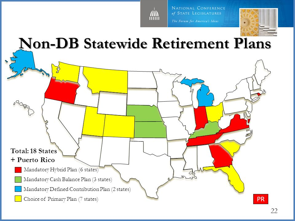 Non-DB Statewide Retirement Plans 22 Choice of Primary Plan (7 states) Mandatory Cash Balance Plan (3 states) Mandatory Defined Contribution Plan (2 states) Total: 18 States + Puerto Rico Mandatory Hybrid Plan (6 states) PR