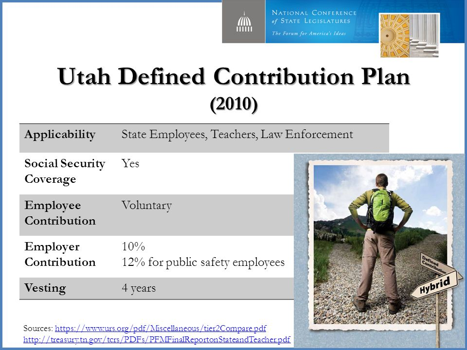 Utah Defined Contribution Plan (2010) 25 ApplicabilityState Employees, Teachers, Law Enforcement Social Security Coverage Yes Employee Contribution Voluntary Employer Contribution 10% 12% for public safety employees Vesting4 years Sources: https://www.urs.org/pdf/Miscellaneous/tier2Compare.pdf http://treasury.tn.gov/tcrs/PDFs/PFMFinalReportonStateandTeacher.pdfhttps://www.urs.org/pdf/Miscellaneous/tier2Compare.pdf http://treasury.tn.gov/tcrs/PDFs/PFMFinalReportonStateandTeacher.pdf