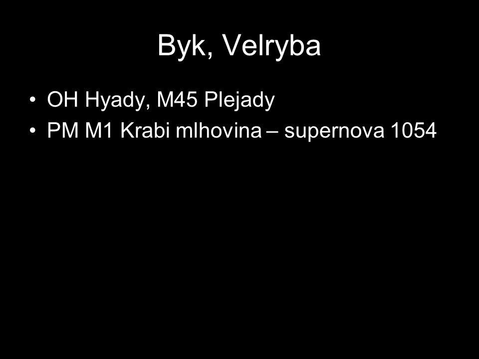 Byk, Velryba OH Hyady, M45 Plejady PM M1 Krabi mlhovina – supernova 1054