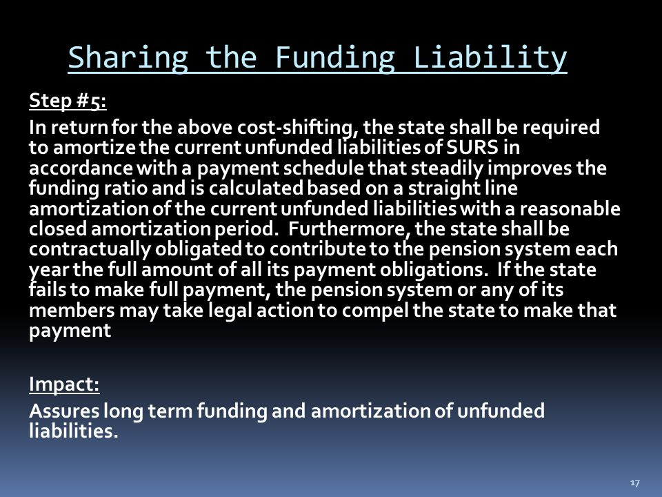 Sharing the Funding Liability Step #5: In return for the above cost-shifting, the state shall be required to amortize the current unfunded liabilities of SURS in accordance with a payment schedule that steadily improves the funding ratio and is calculated based on a straight line amortization of the current unfunded liabilities with a reasonable closed amortization period.