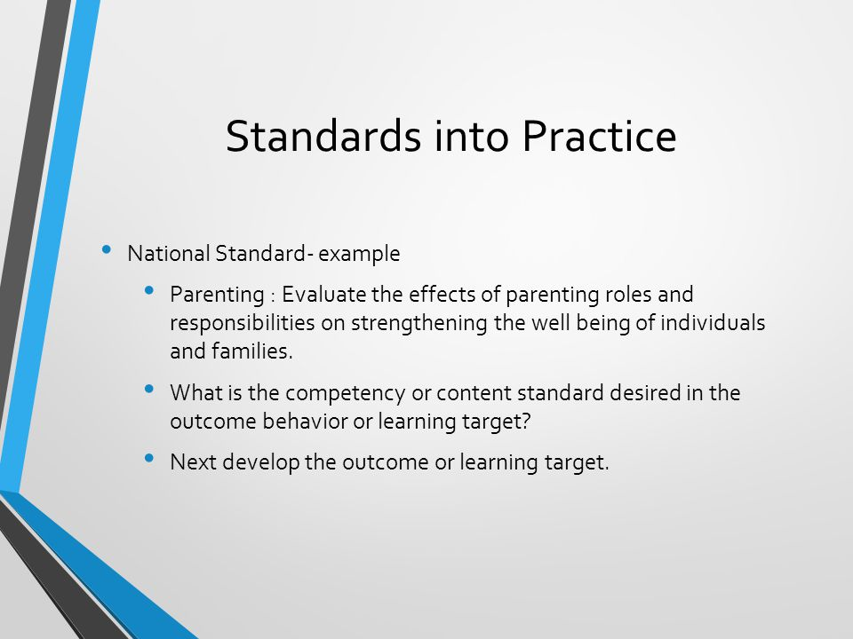 Standards into Practice National Standard- example Parenting : Evaluate the effects of parenting roles and responsibilities on strengthening the well