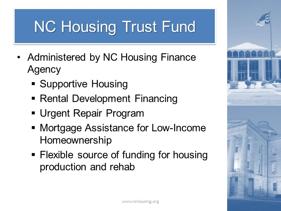 Administered by NC Housing Finance Agency  Supportive Housing  Rental Development Financing  Urgent Repair Program  Mortgage Assistance for Low-In