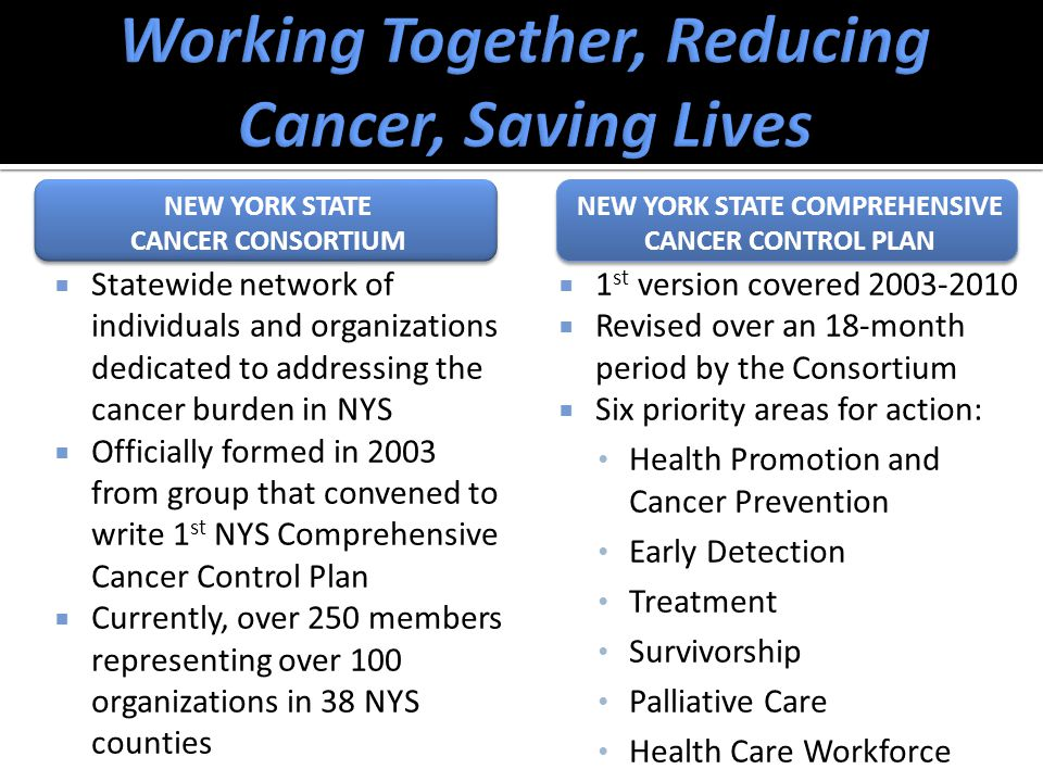 NEW YORK STATE CANCER CONSORTIUM NEW YORK STATE CANCER CONSORTIUM  Statewide network of individuals and organizations dedicated to addressing the cancer burden in NYS  Officially formed in 2003 from group that convened to write 1 st NYS Comprehensive Cancer Control Plan  Currently, over 250 members representing over 100 organizations in 38 NYS counties NEW YORK STATE COMPREHENSIVE CANCER CONTROL PLAN  1 st version covered 2003-2010  Revised over an 18-month period by the Consortium  Six priority areas for action: Health Promotion and Cancer Prevention Early Detection Treatment Survivorship Palliative Care Health Care Workforce