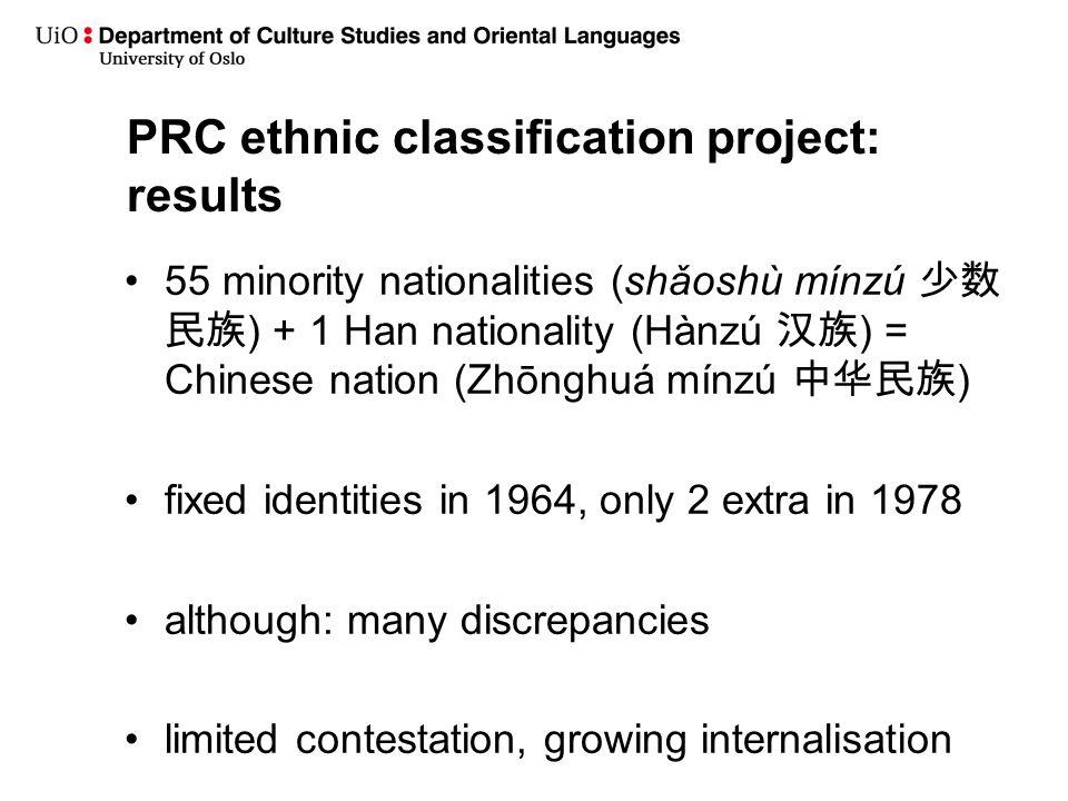 PRC ethnic classification project: results 55 minority nationalities (shǎoshù mínzú 少数 民族 ) + 1 Han nationality (Hànzú 汉族 ) = Chinese nation (Zhōnghuá