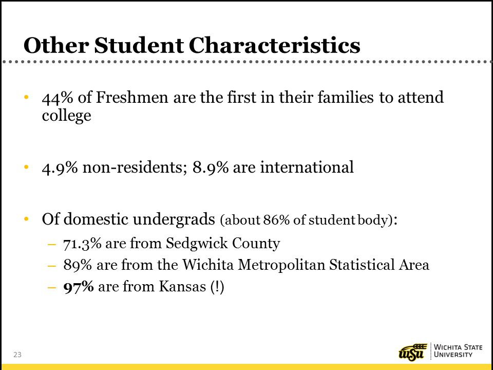 23 Other Student Characteristics 44% of Freshmen are the first in their families to attend college 4.9% non-residents; 8.9% are international Of domestic undergrads (about 86% of student body) : – 71.3% are from Sedgwick County – 89% are from the Wichita Metropolitan Statistical Area – 97% are from Kansas (!)