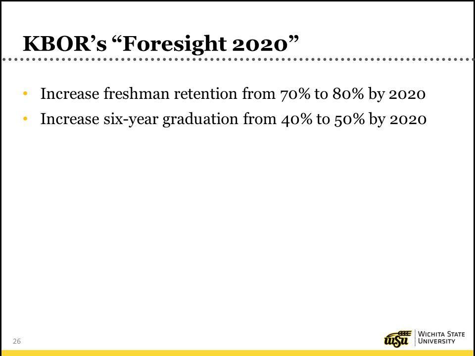 26 KBOR's Foresight 2020 Increase freshman retention from 70% to 80% by 2020 Increase six-year graduation from 40% to 50% by 2020