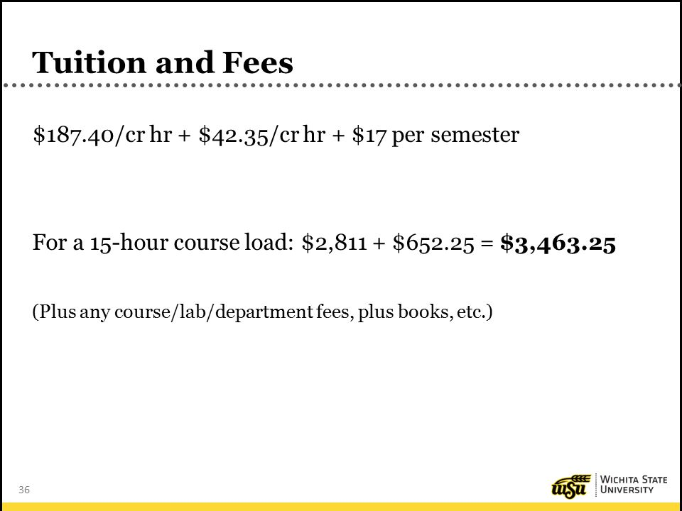 36 Tuition and Fees $187.40/cr hr + $42.35/cr hr + $17 per semester For a 15-hour course load: $2,811 + $652.25 = $3,463.25 (Plus any course/lab/department fees, plus books, etc.)
