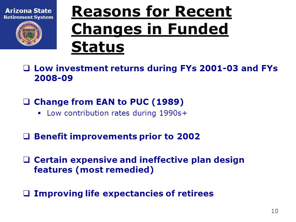 Arizona State Retirement System Reasons for Recent Changes in Funded Status  Low investment returns during FYs 2001-03 and FYs 2008-09  Change from EAN to PUC (1989)  Low contribution rates during 1990s+  Benefit improvements prior to 2002  Certain expensive and ineffective plan design features (most remedied)  Improving life expectancies of retirees 10