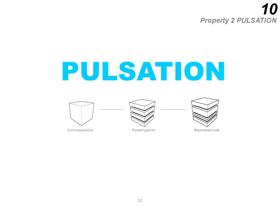 10 PULSATION Property 2 PULSATION 10 Continuous actionPulsating actionResonance mode