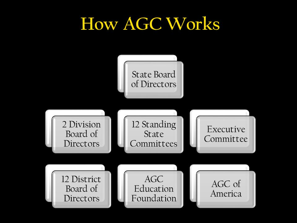 National State Local State Board of Directors 2 Division Board of Directors 12 District Board of Directors 12 Standing State Committees AGC Education Foundation Executive Committee AGC of America How AGC Works
