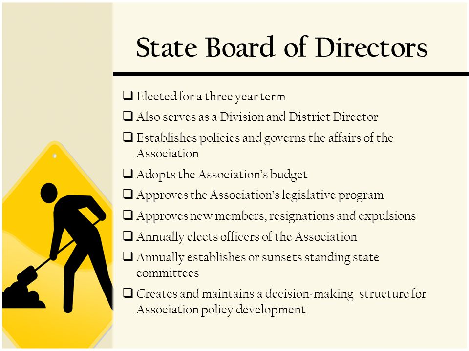 State Board of Directors  Elected for a three year term  Also serves as a Division and District Director  Establishes policies and governs the affairs of the Association  Adopts the Association's budget  Approves the Association's legislative program  Approves new members, resignations and expulsions  Annually elects officers of the Association  Annually establishes or sunsets standing state committees  Creates and maintains a decision-making structure for Association policy development