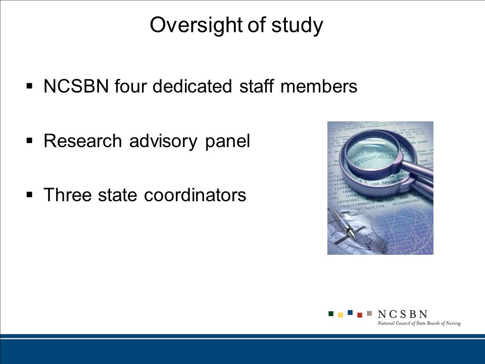 Oversight of study  NCSBN four dedicated staff members  Research advisory panel  Three state coordinators