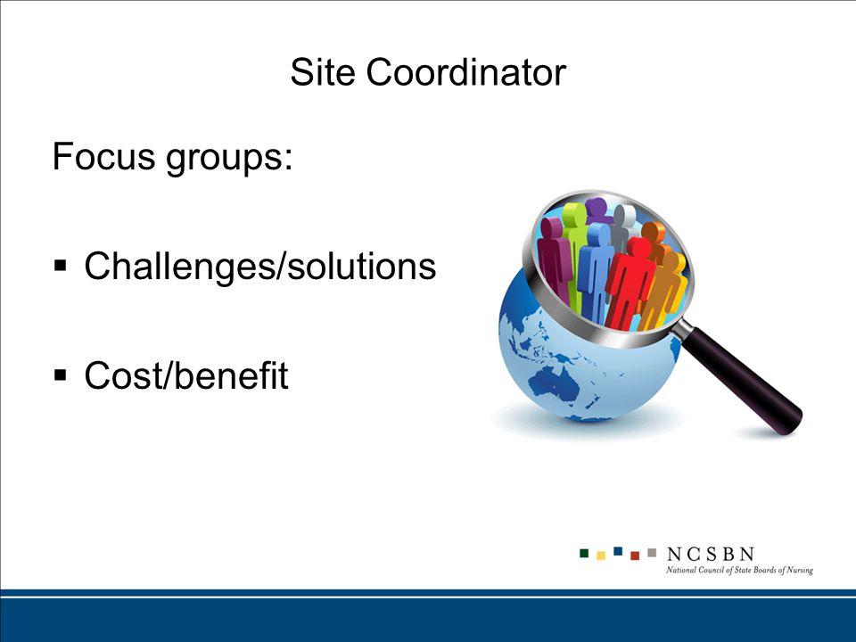 Site Coordinator Focus groups:  Challenges/solutions  Cost/benefit