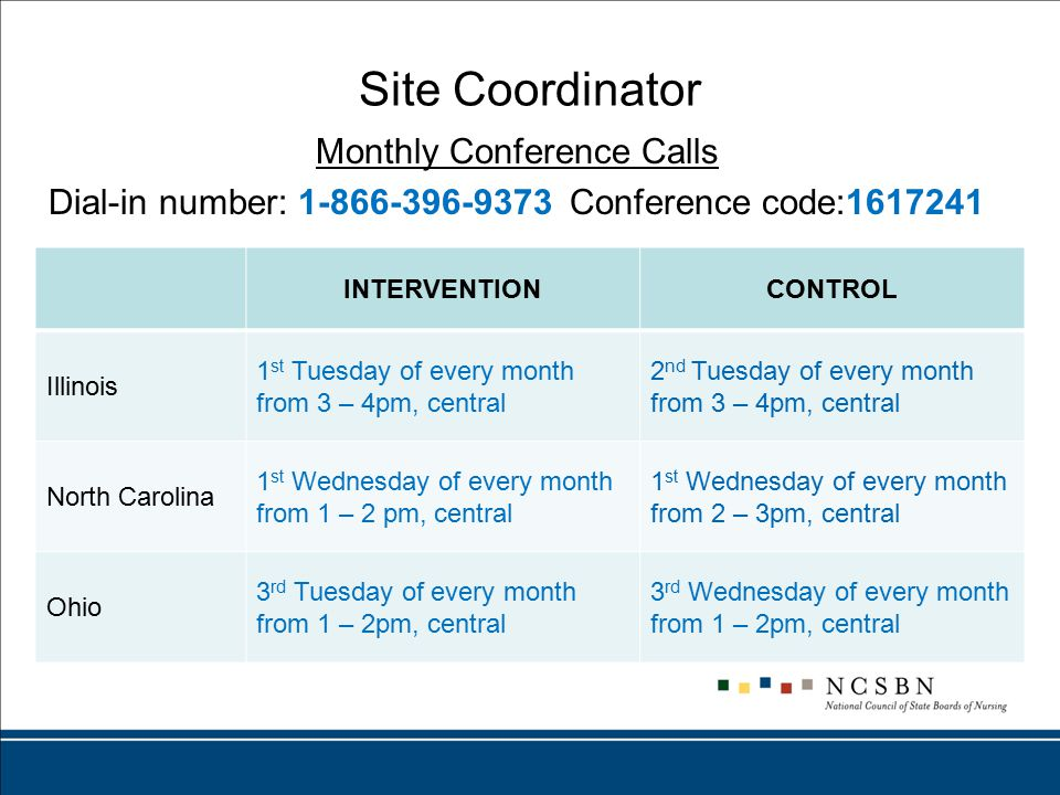 Site Coordinator Monthly Conference Calls Dial-in number: 1-866-396-9373 Conference code:1617241 INTERVENTIONCONTROL Illinois 1 st Tuesday of every month from 3 – 4pm, central 2 nd Tuesday of every month from 3 – 4pm, central North Carolina 1 st Wednesday of every month from 1 – 2 pm, central 1 st Wednesday of every month from 2 – 3pm, central Ohio 3 rd Tuesday of every month from 1 – 2pm, central 3 rd Wednesday of every month from 1 – 2pm, central
