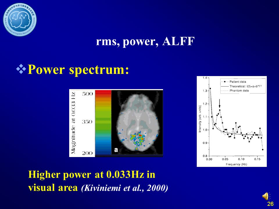 26 rms, power, ALFF  Power spectrum: Higher power at 0.033Hz in visual area (Kiviniemi et al., 2000)