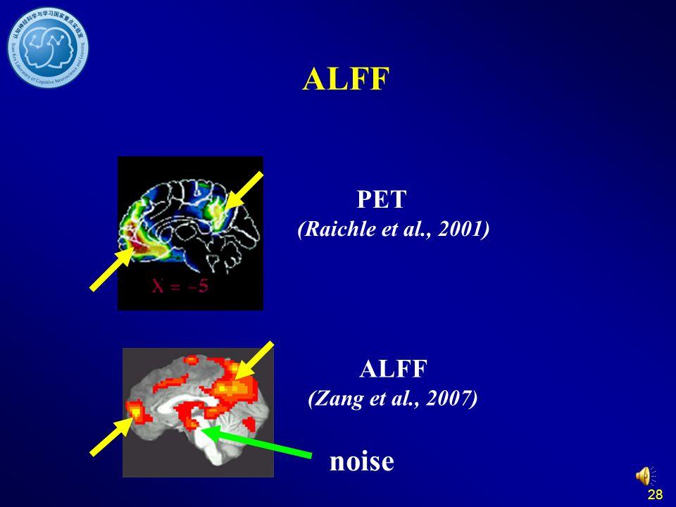 28 ALFF (Zang et al., 2007) PET (Raichle et al., 2001) noise