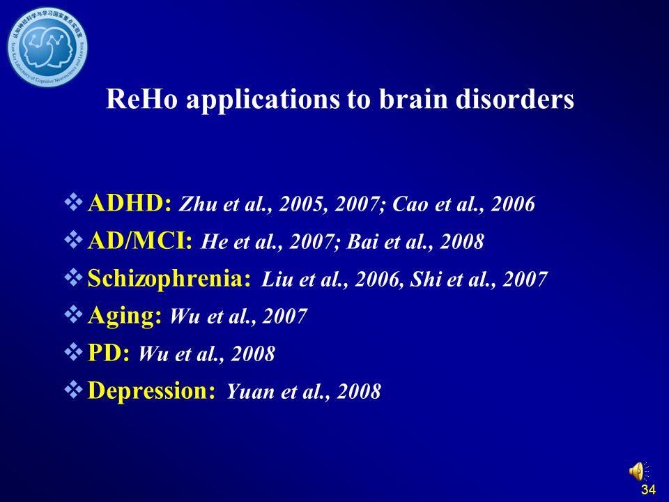 34 ReHo applications to brain disorders  ADHD: Zhu et al., 2005, 2007; Cao et al., 2006  AD/MCI: He et al., 2007; Bai et al., 2008  Schizophrenia: Liu et al., 2006, Shi et al., 2007  Aging: Wu et al., 2007  PD: Wu et al., 2008  Depression: Yuan et al., 2008