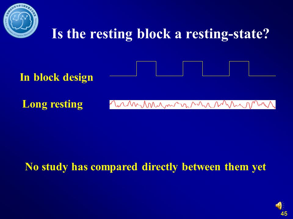 45 Is the resting block a resting-state? In block design Long resting No study has compared directly between them yet