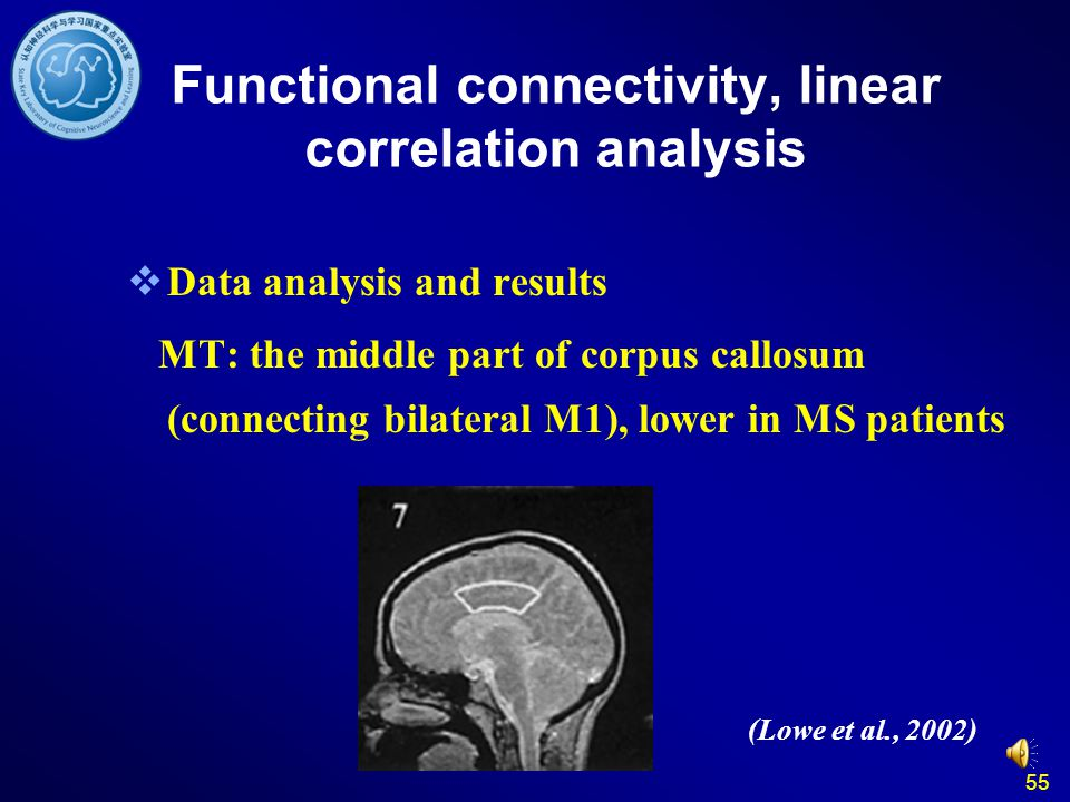 55  Data analysis and results MT: the middle part of corpus callosum (connecting bilateral M1), lower in MS patients (Lowe et al., 2002) Functional c